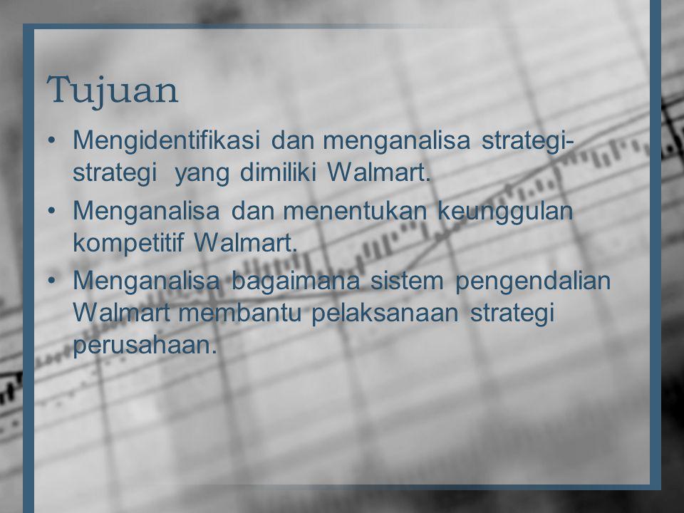 Tujuan •Mengidentifikasi dan menganalisa strategi- strategi yang dimiliki Walmart. •Menganalisa dan menentukan keunggulan kompetitif Walmart. •Mengana