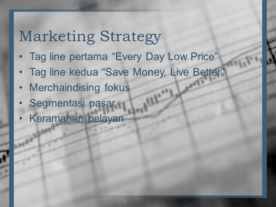 "Marketing Strategy •Tag line pertama ""Every Day Low Price"" •Tag line kedua ""Save Money, Live Better"" •Merchaindising fokus •Segmentasi pasar •Keramaha"