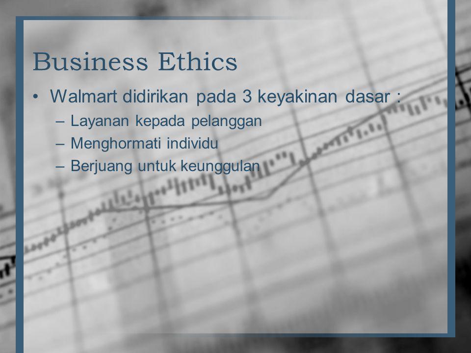 Business Ethics •Walmart didirikan pada 3 keyakinan dasar : –Layanan kepada pelanggan –Menghormati individu –Berjuang untuk keunggulan