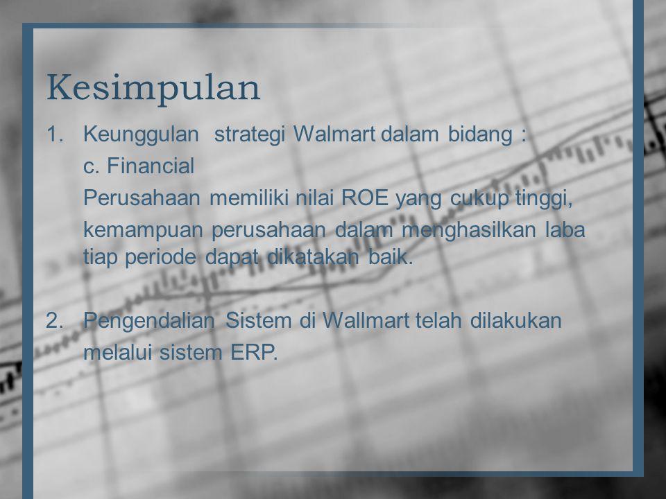Kesimpulan 1.Keunggulan strategi Walmart dalam bidang : c. Financial Perusahaan memiliki nilai ROE yang cukup tinggi, kemampuan perusahaan dalam mengh