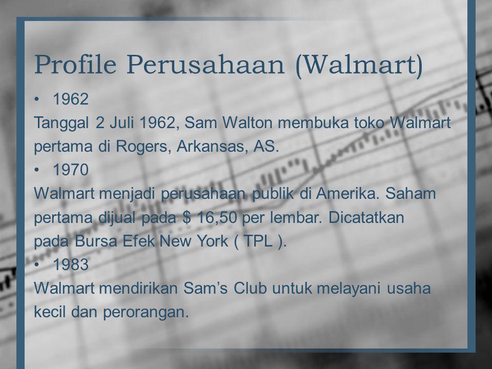 Profile Perusahaan (Walmart) •1962 Tanggal 2 Juli 1962, Sam Walton membuka toko Walmart pertama di Rogers, Arkansas, AS. •1970 Walmart menjadi perusah