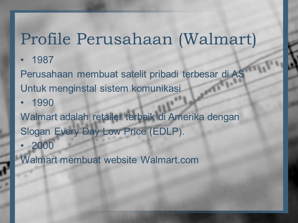 Profile Perusahaan (Walmart) •1987 Perusahaan membuat satelit pribadi terbesar di AS Untuk menginstal sistem komunikasi •1990 Walmart adalah retailer