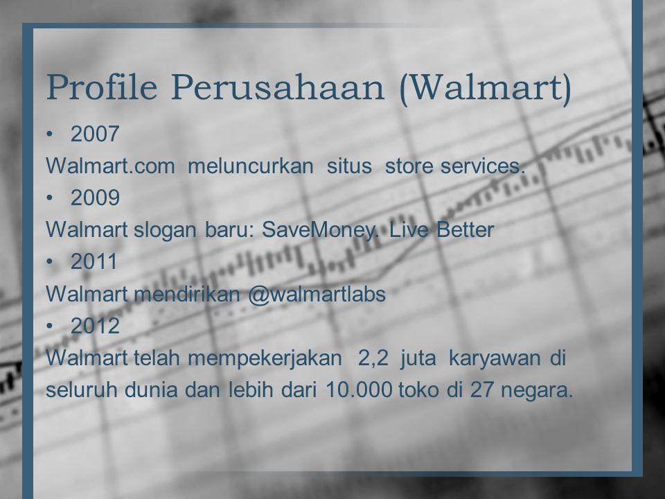 Profile Perusahaan (Walmart) •2007 Walmart.com meluncurkan situs store services. •2009 Walmart slogan baru: SaveMoney. Live Better •2011 Walmart mendi