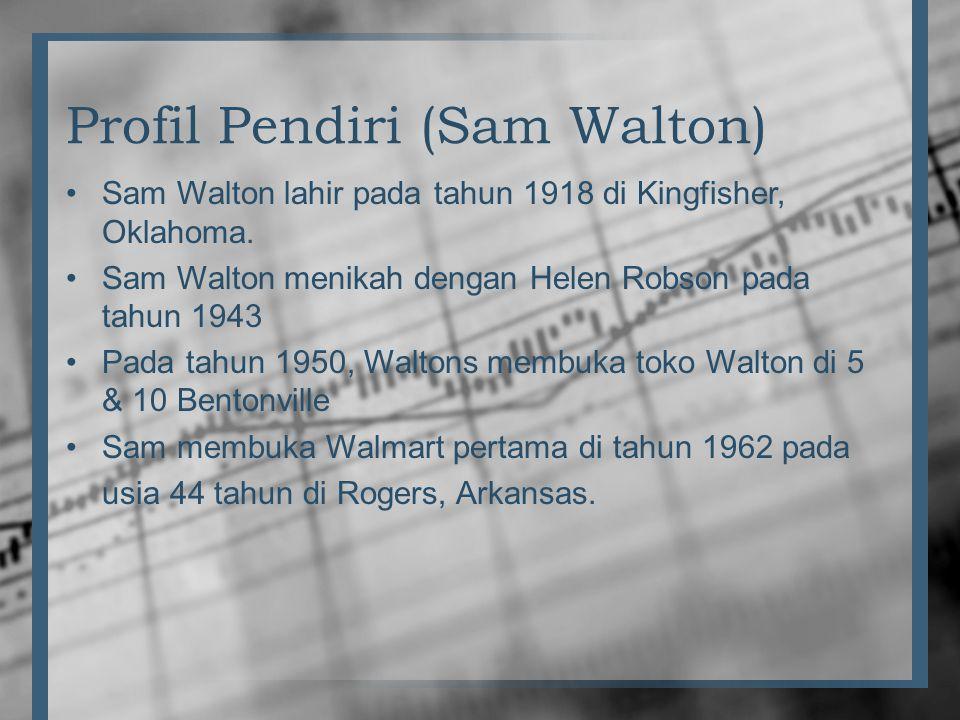 Profil Pendiri (Sam Walton) •Sam Walton lahir pada tahun 1918 di Kingfisher, Oklahoma. •Sam Walton menikah dengan Helen Robson pada tahun 1943 •Pada t