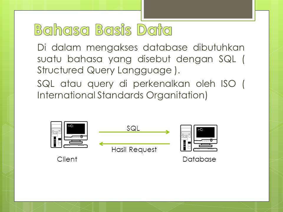 Di dalam mengakses database dibutuhkan suatu bahasa yang disebut dengan SQL ( Structured Query Langguage ).