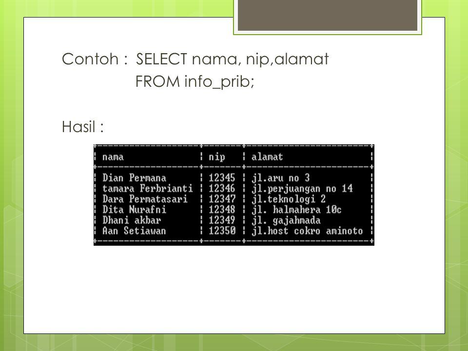 Contoh : SELECT nama, nip,alamat FROM info_prib; Hasil :