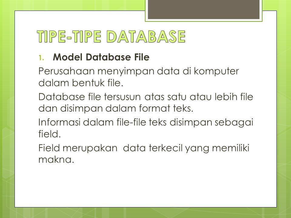 1.Model Database File Perusahaan menyimpan data di komputer dalam bentuk file.