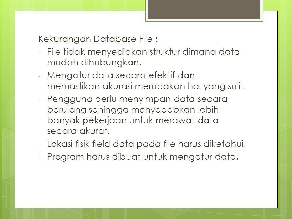Kekurangan Database File : - File tidak menyediakan struktur dimana data mudah dihubungkan.