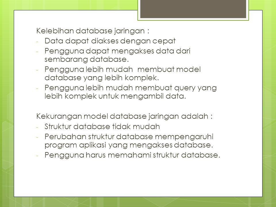Kelebihan database jaringan : - Data dapat diakses dengan cepat - Pengguna dapat mengakses data dari sembarang database.