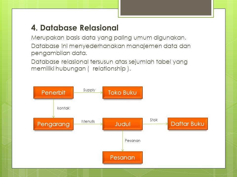4.Database Relasional Merupakan basis data yang paling umum digunakan.