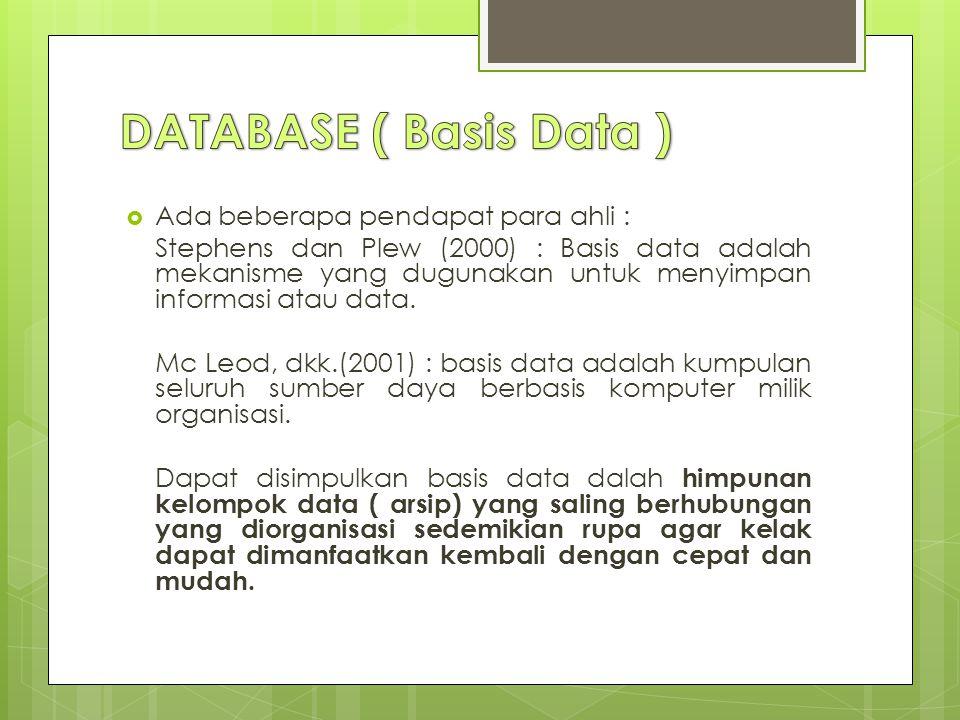  Ada beberapa pendapat para ahli : Stephens dan Plew (2000) : Basis data adalah mekanisme yang dugunakan untuk menyimpan informasi atau data.
