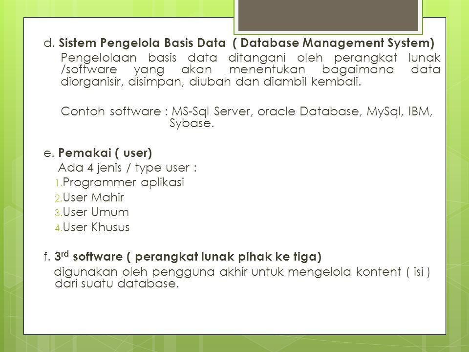 d. Sistem Pengelola Basis Data ( Database Management System) Pengelolaan basis data ditangani oleh perangkat lunak /software yang akan menentukan baga
