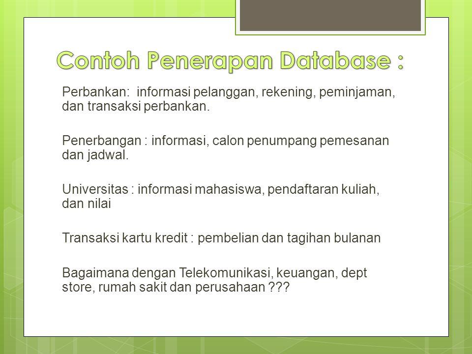 Perbankan: informasi pelanggan, rekening, peminjaman, dan transaksi perbankan.