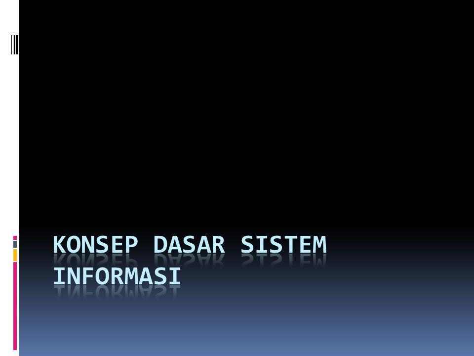 Kesamaan dari berbagai teori Produk : Informasi Tujuan : Menghasilkan Informasi untuk berbagai pihak Fungsi : Pengelolaan sumber-sumber masukan hingga menjadi informasi Sumber masukan : Data dan atau Informasi Tujuan Prosedur Kerja Manusia Informasi Teknologi Informasi Yang dicoba dilakukan sistem Cara kerja Data berformat, teks, angka, gambar, suara Memasukan, memproses, Menggunakan data Perangkat keras dan Perangkat lunak yang Memproses data