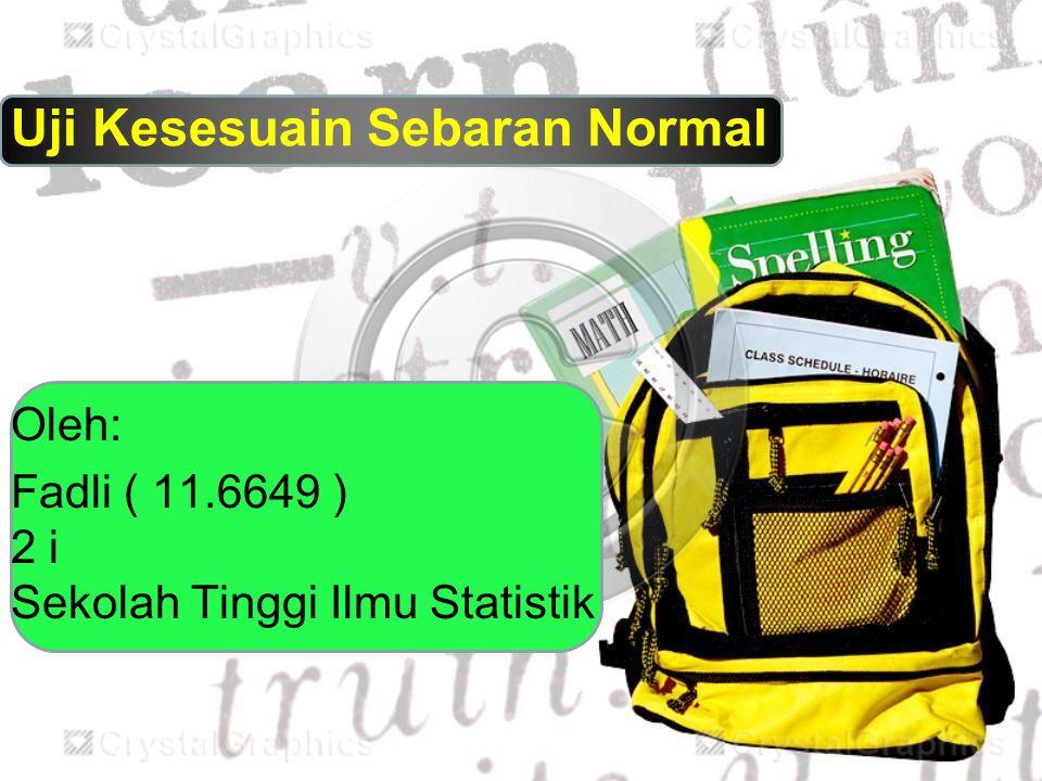 Uji Kesesuain Sebaran Normal Oleh: Fadli ( 11.6649 ) 2 i Sekolah Tinggi Ilmu Statistik