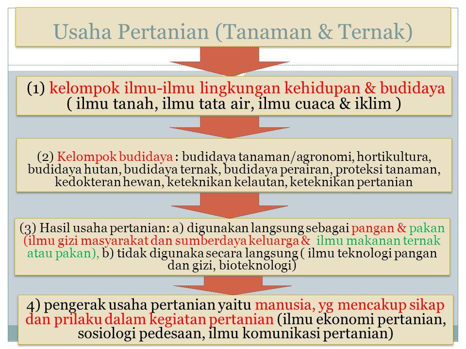 Usaha Pertanian (Tanaman & Ternak) (1) kelompok ilmu-ilmu lingkungan kehidupan & budidaya ( ilmu tanah, ilmu tata air, ilmu cuaca & iklim ) (3) Hasil