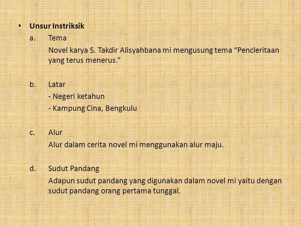 """• Unsur Instriksik a. Tema Novel karya S. Takdir Alisyahbana mi mengusung tema """"Pencleritaan yang terus menerus."""" b.Latar - Negeri ketahun - Kampung C"""