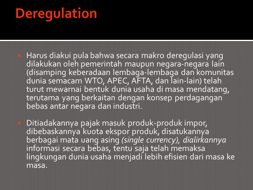  Harus diakui pula bahwa secara makro deregulasi yang dilakukan oleh pemerintah maupun negara-negara lain (disamping keberadaan lembaga-lembaga dan k
