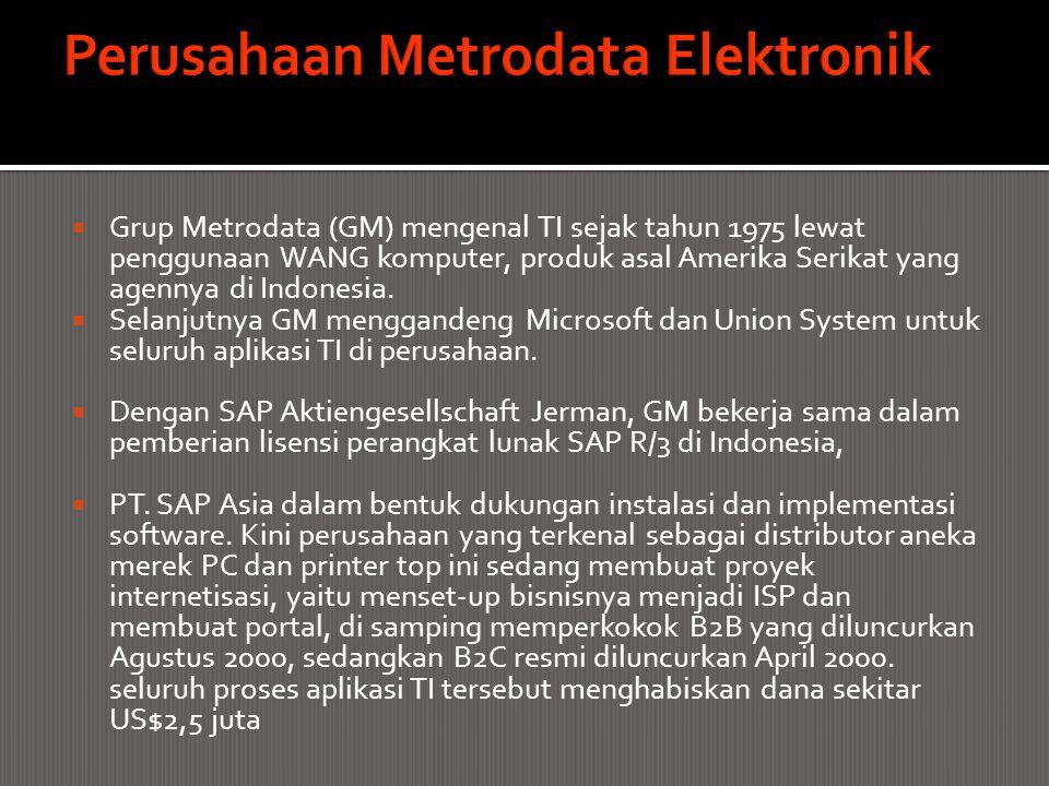 Grup Metrodata (GM) mengenal TI sejak tahun 1975 lewat penggunaan WANG komputer, produk asal Amerika Serikat yang agennya di Indonesia.  Selanjutny