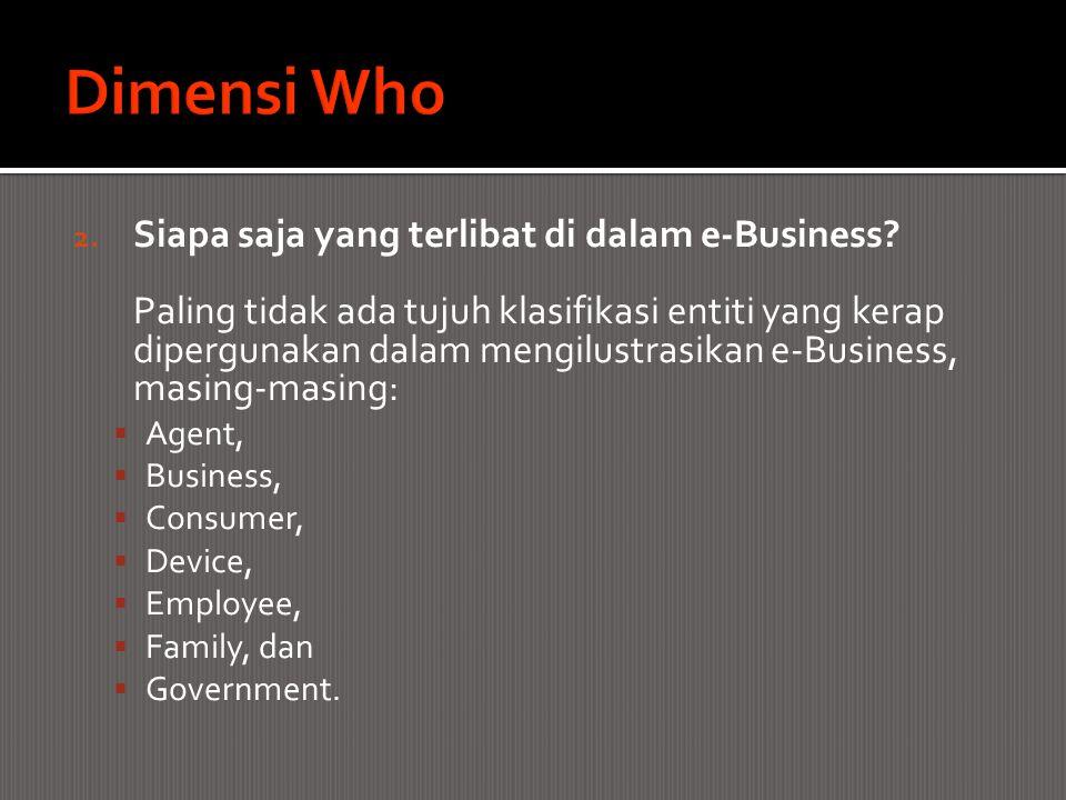 2. Siapa saja yang terlibat di dalam e-Business? Paling tidak ada tujuh klasifikasi entiti yang kerap dipergunakan dalam mengilustrasikan e-Business,