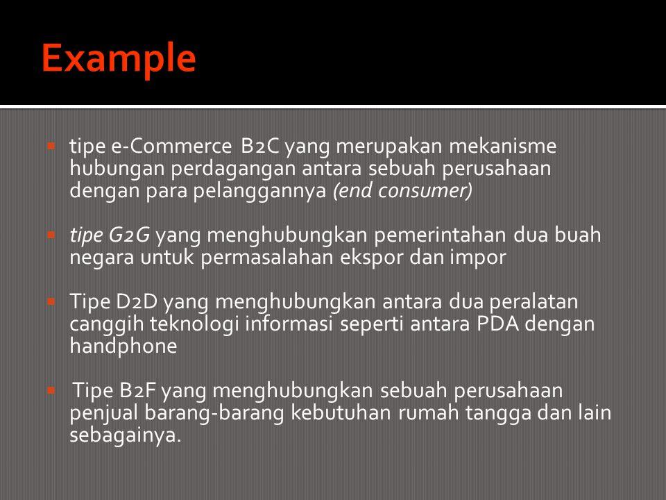  tipe e-Commerce B2C yang merupakan mekanisme hubungan perdagangan antara sebuah perusahaan dengan para pelanggannya (end consumer)  tipe G2G yang m
