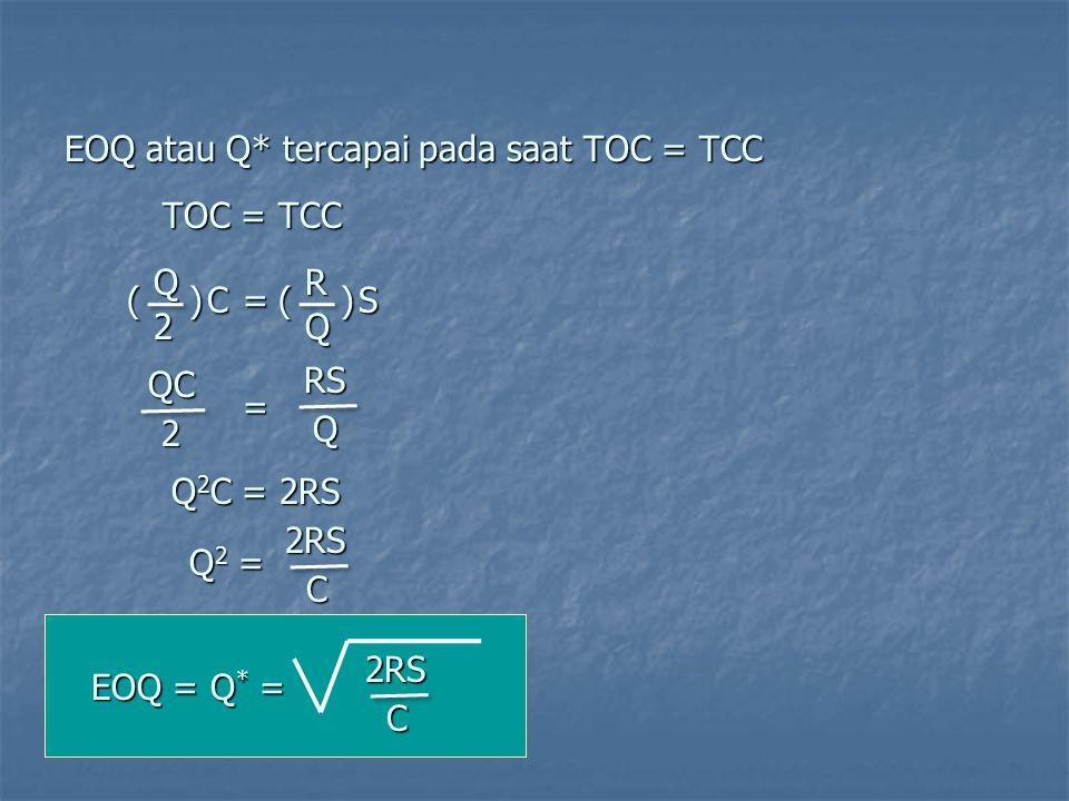 EOQ atau Q* tercapai pada saat TOC = TCC ()RQ S=()Q2 C TOC = TCC = QC 2RSQ Q 2 C = 2RS Q2 =Q2 =Q2 =Q2 =2RSC EOQ = Q * = 2RS C