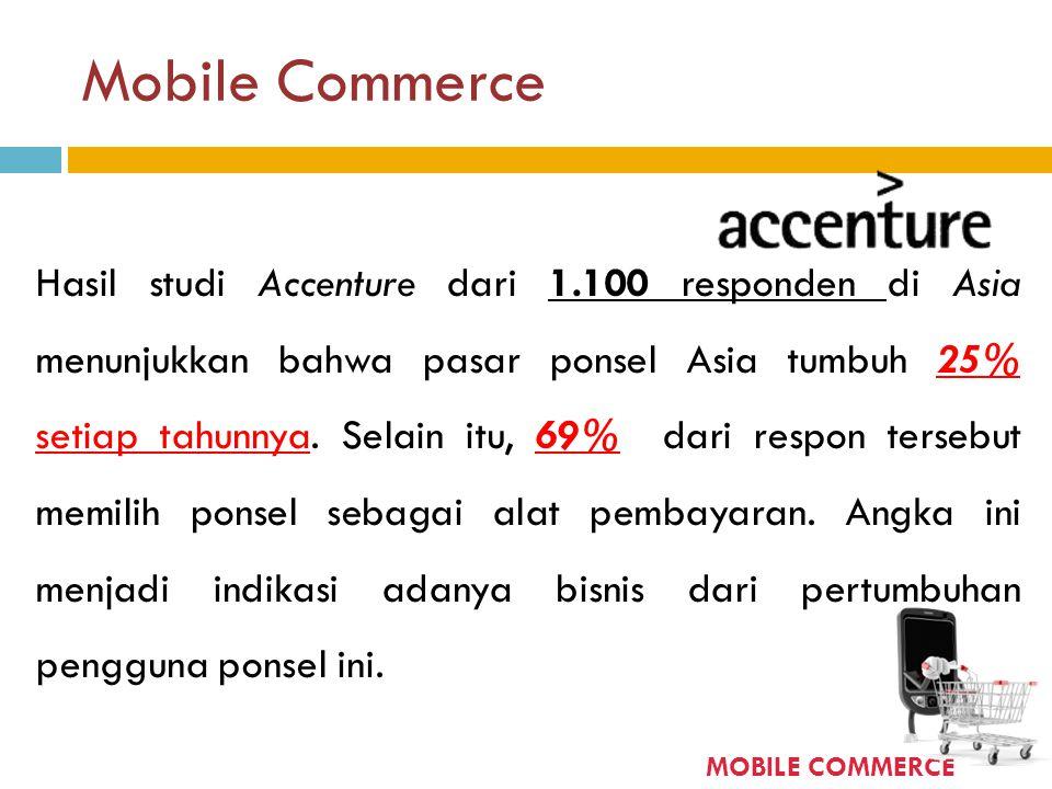 Mobile Commerce Hasil studi Accenture dari 1.100 responden di Asia menunjukkan bahwa pasar ponsel Asia tumbuh 25% setiap tahunnya. Selain itu, 69% dar