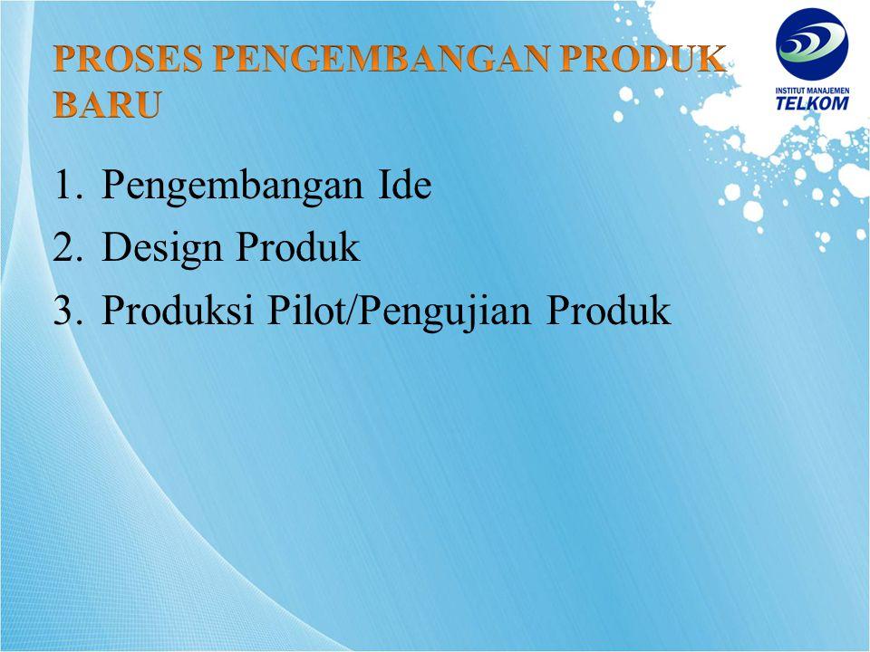1.Pengembangan Ide 2.Design Produk 3.Produksi Pilot/Pengujian Produk
