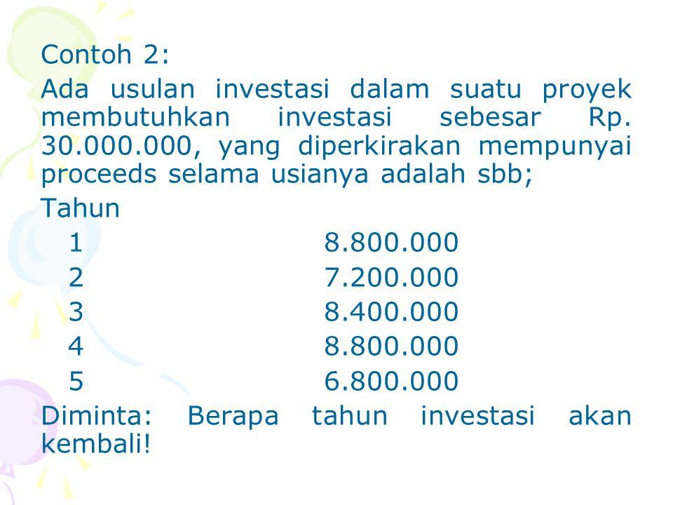 Contoh 2: Ada usulan investasi dalam suatu proyek membutuhkan investasi sebesar Rp. 30.000.000, yang diperkirakan mempunyai proceeds selama usianya ad
