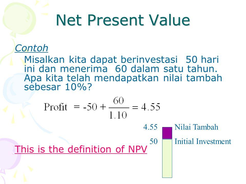Net Present Value Contoh Misalkan kita dapat berinvestasi 50 hari ini dan menerima 60 dalam satu tahun. Apa kita telah mendapatkan nilai tambah sebesa