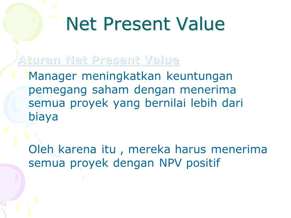 Net Present Value Aturan Net Present Value Manager meningkatkan keuntungan pemegang saham dengan menerima semua proyek yang bernilai lebih dari biaya