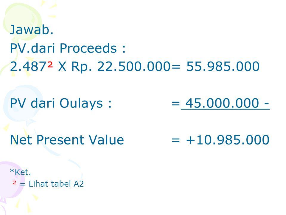 Jawab. PV.dari Proceeds : 2.487² X Rp. 22.500.000= 55.985.000 PV dari Oulays : = 45.000.000 - Net Present Value = +10.985.000 *Ket. ² = Lihat tabel A2