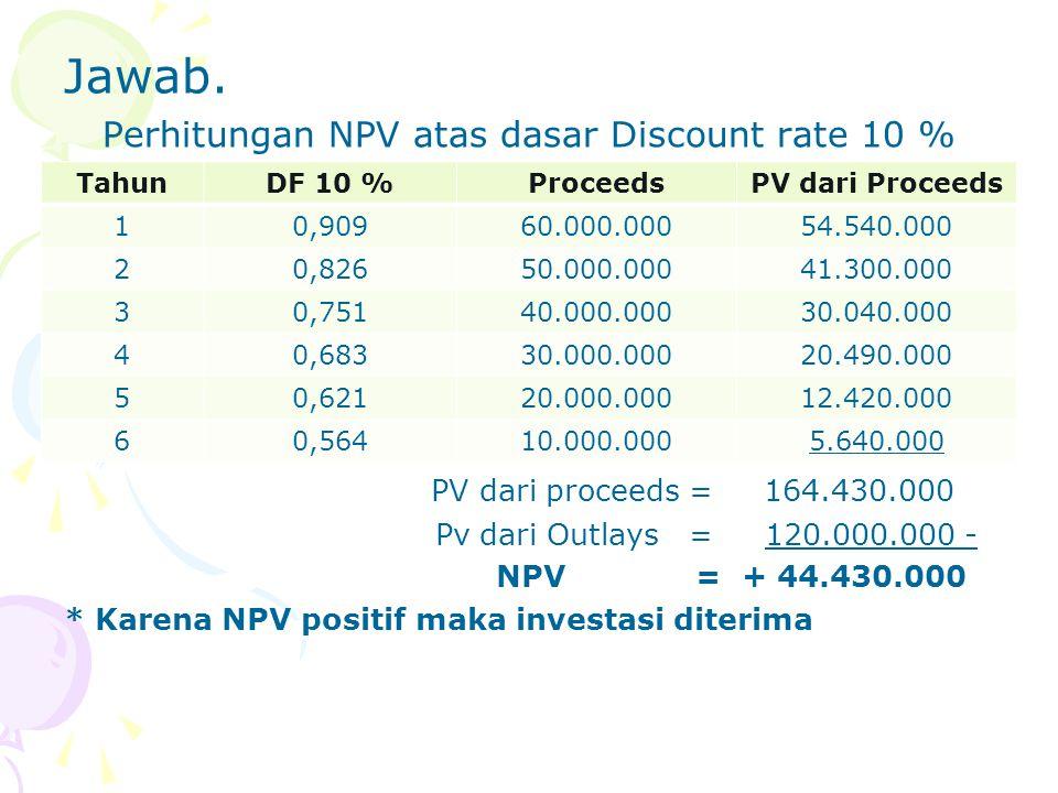 Jawab. Perhitungan NPV atas dasar Discount rate 10 % PV dari proceeds = 164.430.000 Pv dari Outlays = 120.000.000 - NPV = + 44.430.000 * Karena NPV po