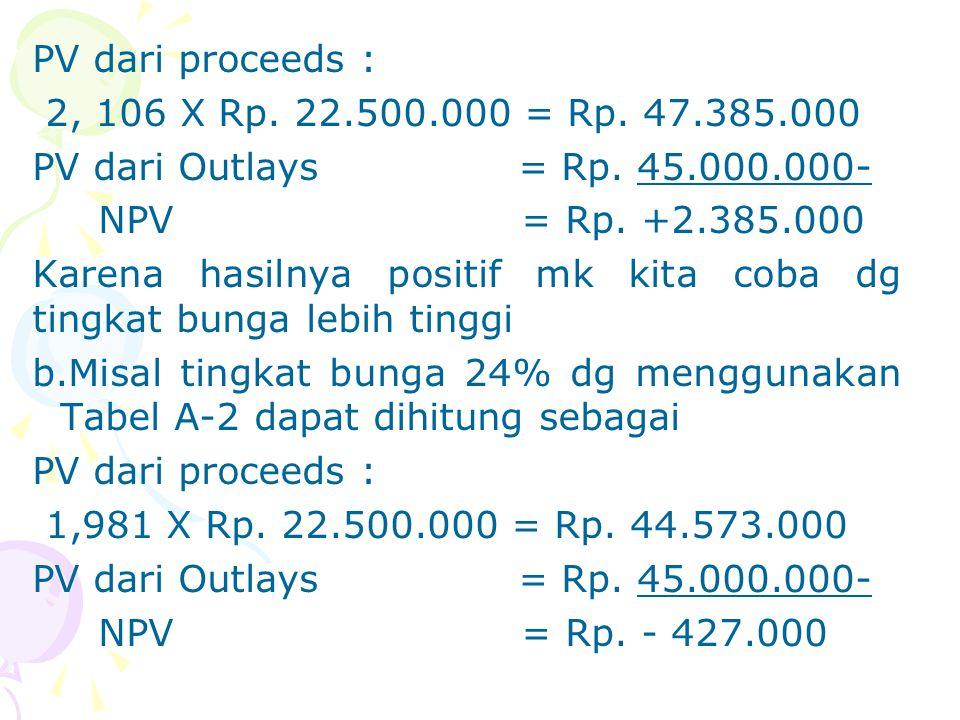 PV dari proceeds : 2, 106 X Rp. 22.500.000 = Rp. 47.385.000 PV dari Outlays = Rp. 45.000.000- NPV = Rp. +2.385.000 Karena hasilnya positif mk kita cob