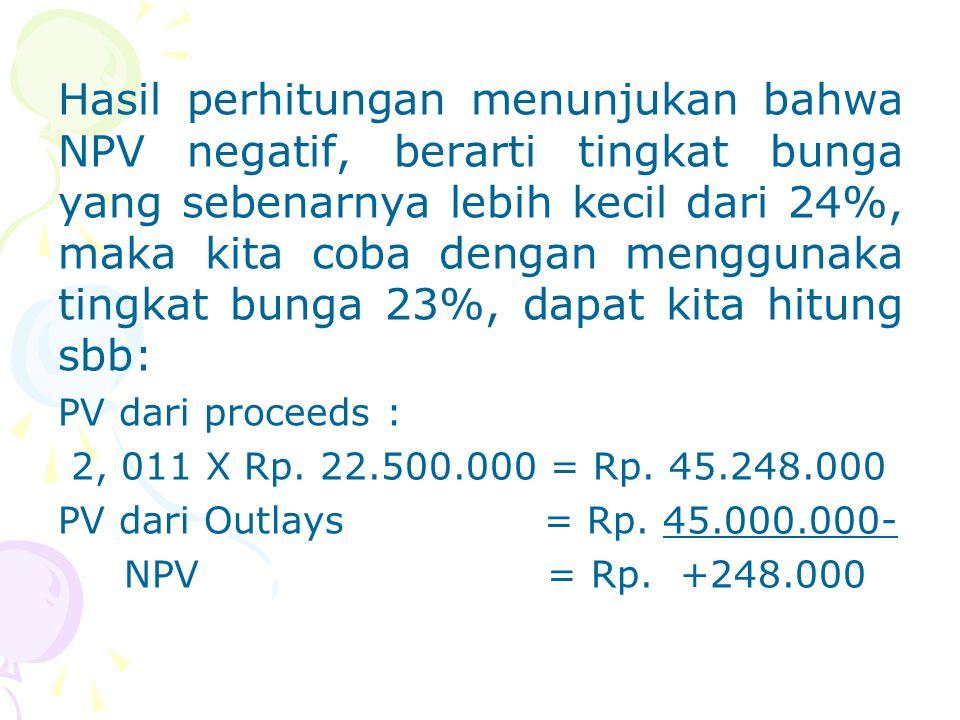 Hasil perhitungan menunjukan bahwa NPV negatif, berarti tingkat bunga yang sebenarnya lebih kecil dari 24%, maka kita coba dengan menggunaka tingkat b