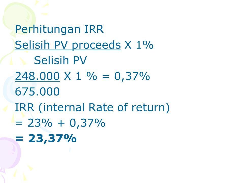 Perhitungan IRR Selisih PV proceeds X 1% Selisih PV 248.000 X 1 % = 0,37% 675.000 IRR (internal Rate of return) = 23% + 0,37% = 23,37%