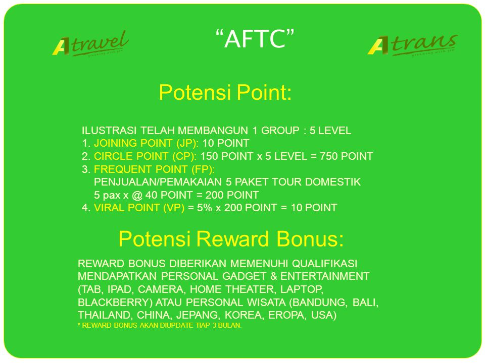 """AFTC"" ILUSTRASI TELAH MEMBANGUN 1 GROUP : 5 LEVEL 1. JOINING POINT (JP): 10 POINT 2. CIRCLE POINT (CP): 150 POINT x 5 LEVEL = 750 POINT 3. FREQUENT P"