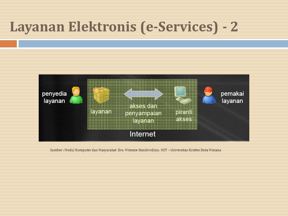 Layanan Elektronis (e-Services) - 2 Sumber : Modul Komputer dan Masyarakat Drs. Wimmie Handiwidjojo, MIT – Universitas Kristen Duta Wacana