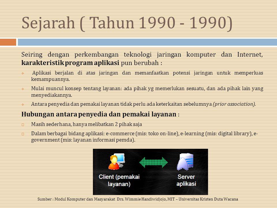 Sejarah ( Tahun 1990 - 1990) Seiring dengan perkembangan teknologi jaringan komputer dan Internet, karakteristik program aplikasi pun berubah :  Aplikasi berjalan di atas jaringan dan memanfaatkan potensi jaringan untuk memperluas kemampuannya.