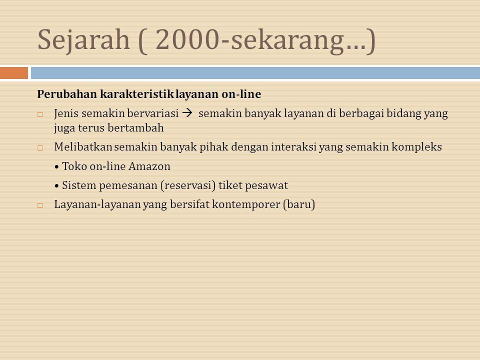 Sejarah ( 2000-sekarang…) Perubahan karakteristik layanan on-line  Jenis semakin bervariasi  semakin banyak layanan di berbagai bidang yang juga ter