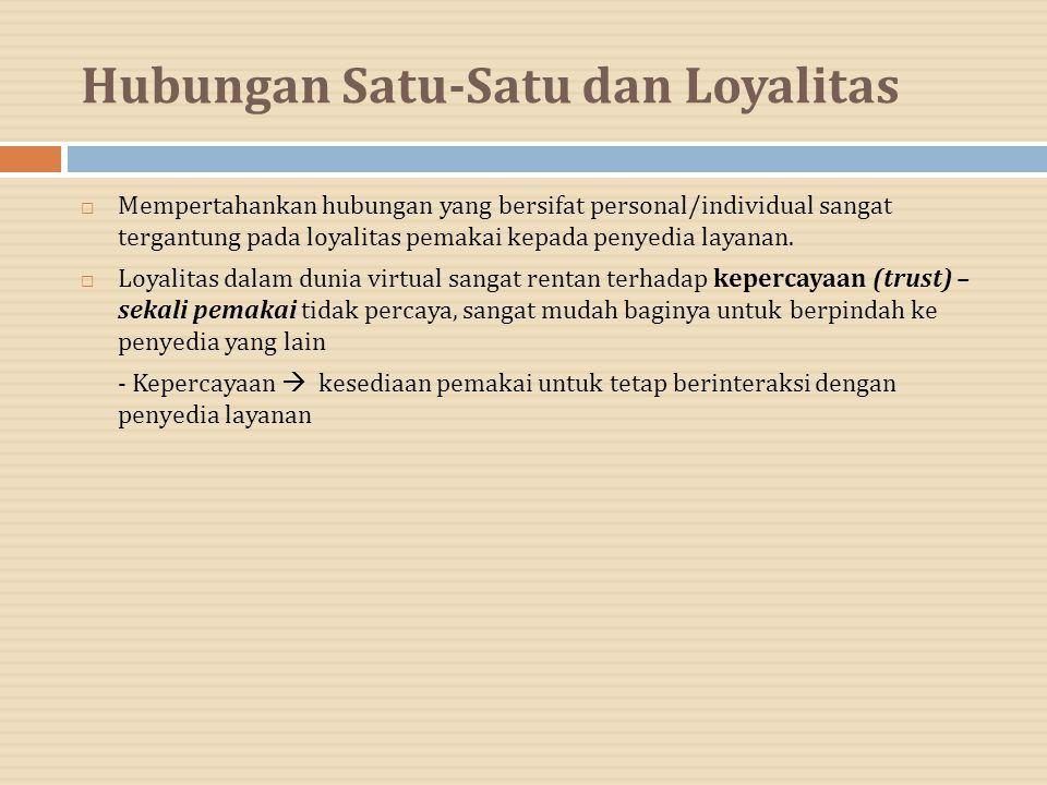 Hubungan Satu-Satu dan Loyalitas  Mempertahankan hubungan yang bersifat personal/individual sangat tergantung pada loyalitas pemakai kepada penyedia