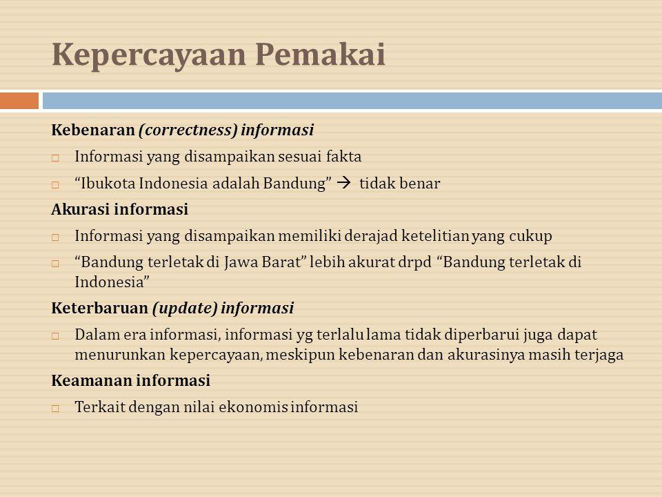 """Kepercayaan Pemakai Kebenaran (correctness) informasi  Informasi yang disampaikan sesuai fakta  """"Ibukota Indonesia adalah Bandung""""  tidak benar Aku"""