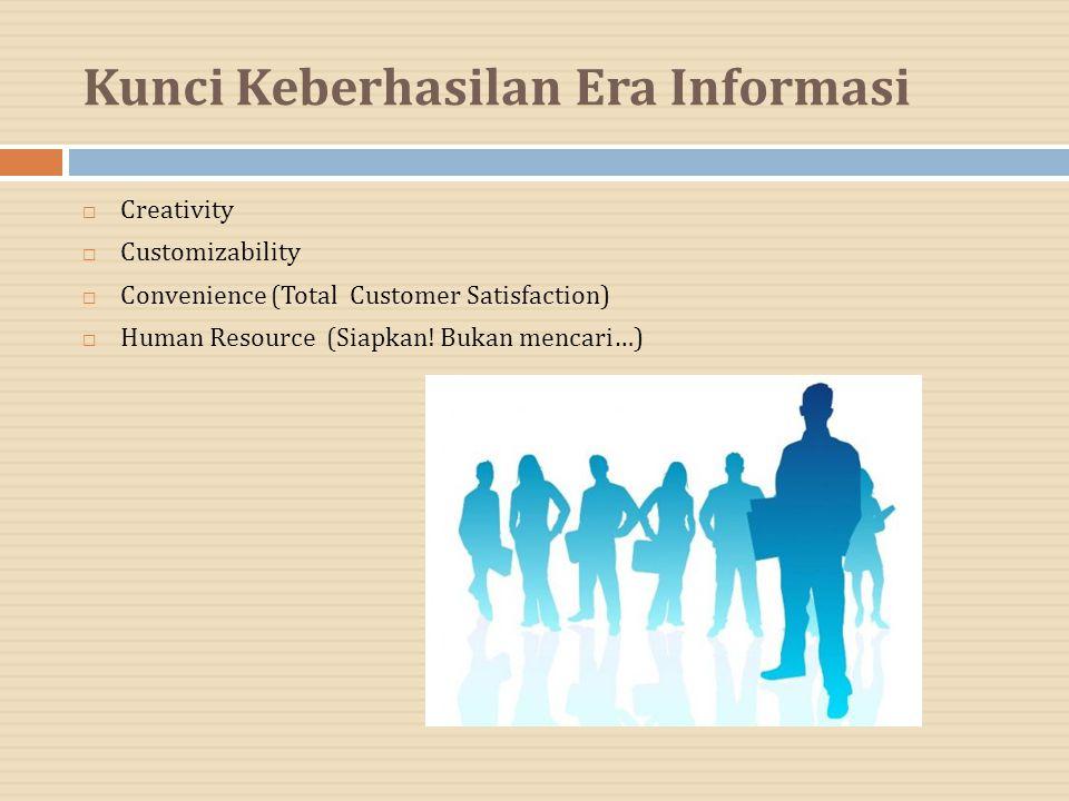 Kunci Keberhasilan Era Informasi  Creativity  Customizability  Convenience (Total Customer Satisfaction)  Human Resource (Siapkan! Bukan mencari…)