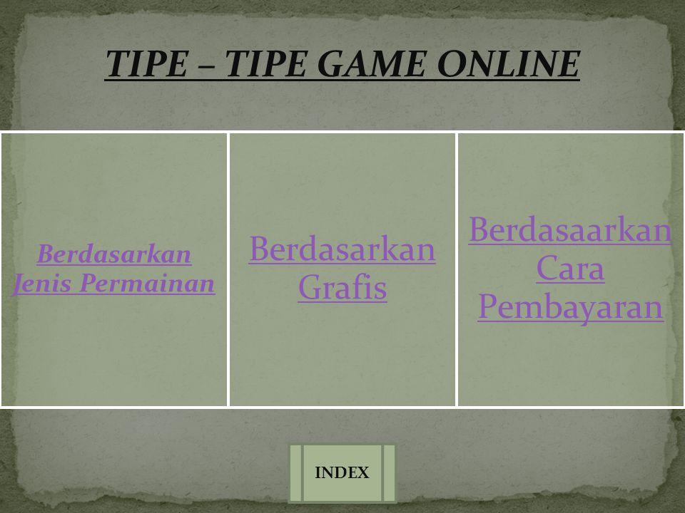 TIPE – TIPE GAME ONLINE Berdasarkan Jenis Permainan Berdasarkan Grafis Berdasaarkan Cara Pembayaran INDEX