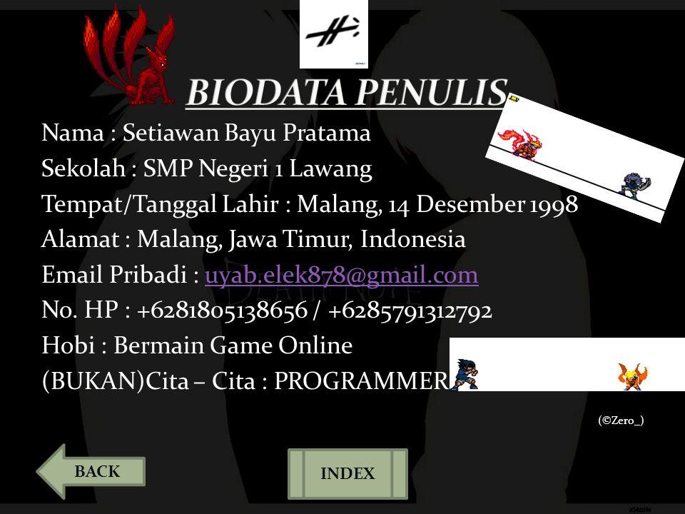 Nama : Setiawan Bayu Pratama Sekolah : SMP Negeri 1 Lawang Tempat/Tanggal Lahir : Malang, 14 Desember 1998 Alamat : Malang, Jawa Timur, Indonesia Emai