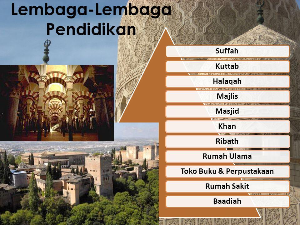 Bidang-Bidang Ilmu yang Dikaji Hampir semua bidang ilmu dikaji dan dikembangkan oleh cendekiawan-cendekiawan Muslim pada masa itu (Periode 600-1300 Masehi), diantaranya : Kedokteran, Matematika, Kimia, Fisika, Ilmu Alam, Falak, Filsafat, Kesastraan, hingga Pengembangan Teknologi.