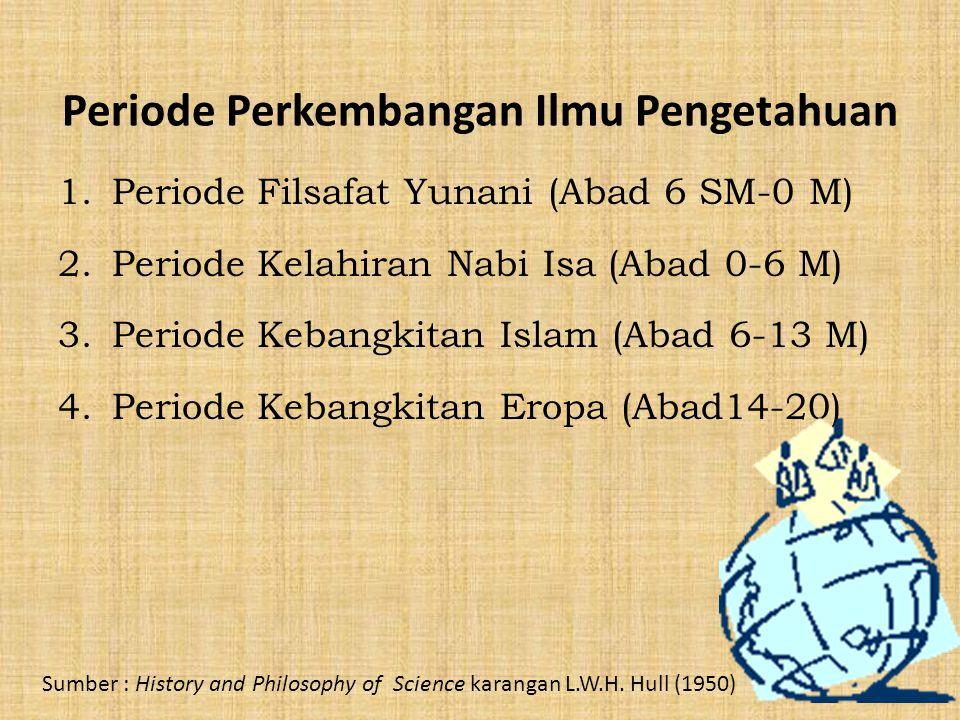 Periode Perkembangan Ilmu Pengetahuan 1.Periode Filsafat Yunani (Abad 6 SM-0 M) 2.Periode Kelahiran Nabi Isa (Abad 0-6 M) 3.Periode Kebangkitan Islam (Abad 6-13 M) 4.Periode Kebangkitan Eropa (Abad14-20) Sumber : History and Philosophy of Science karangan L.W.H.