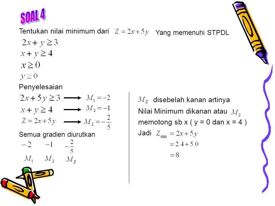 Tentukan nilai minimum dari Yang memenuhi STPDL Penyelesaian Semua gradien diurutkan disebelah kanan artinya Nilai Minimum dikanan atau memotong sb x ( y = 0 dan x = 4 ) Jadi