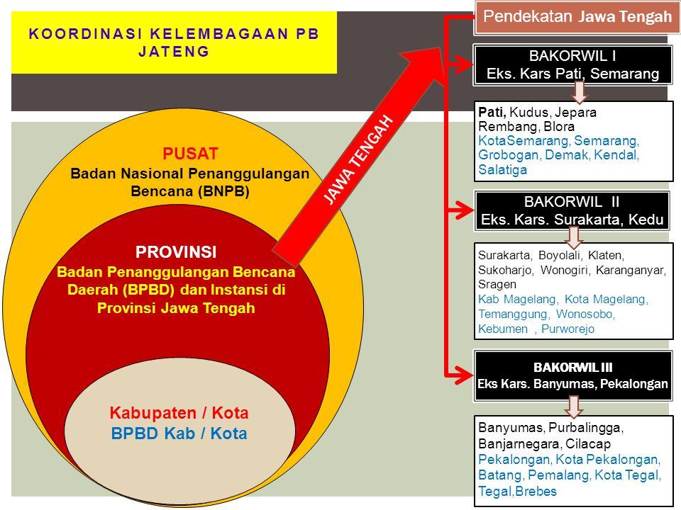12 Kabupaten / Kota BPBD Kab / Kota PUSAT Badan Nasional Penanggulangan Bencana (BNPB) PROVINSI Badan Penanggulangan Bencana Daerah (BPBD) dan Instans