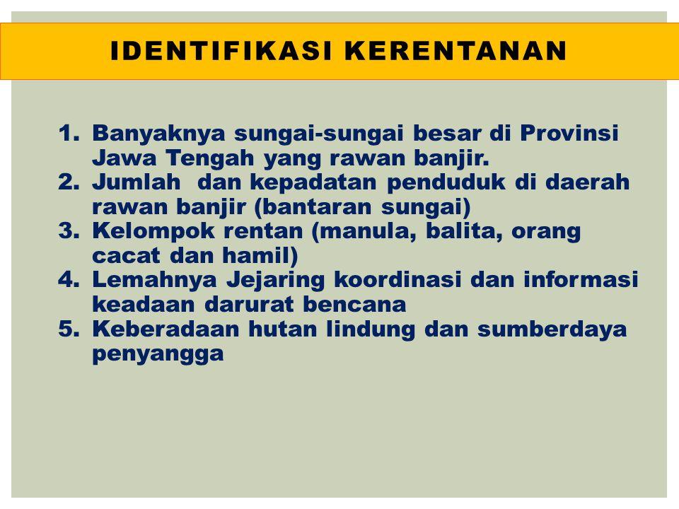 IDENTIFIKASI KERENTANAN 1.Banyaknya sungai-sungai besar di Provinsi Jawa Tengah yang rawan banjir. 2.Jumlah dan kepadatan penduduk di daerah rawan ban
